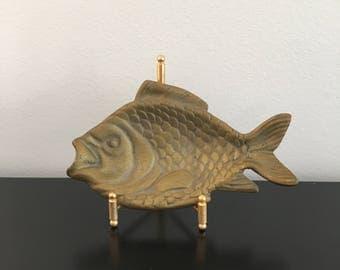 Vintage, Brass, Fish Dish, Ashtray, Gold Fish, Home Decor, Nautical Theme,Brass, Brass Ashtray, Trinket Dish, Metal Fish,Footed Dish, Gold