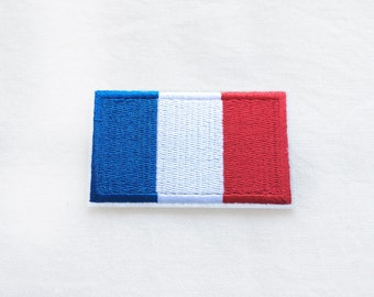 1x FRENCH flag patch - France  Paris Tour Eiffel Europe World Iron On Embroidered Applique logo blue white red