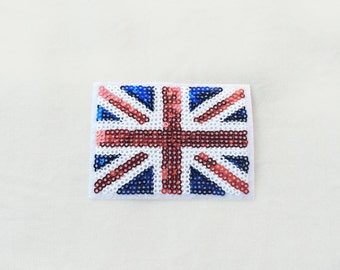 1x sequins UK flag patch - United Kingdom Queen British Union Jack Iron On  Applique logo red blue white