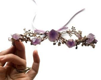 Fairy Tale Wedding Crown,Amethyst Crystal Crown,Purple Bridal Crown,Wedding Tiara,Bridal Tiara,Boho Wedding,Festival Crown,Festival Headband
