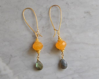 Mango Calcite & Labradorite Earrings with Vermeil and Gold-filled Wire