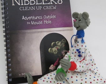 Sculpted Clay Mouse with Bound Story Book
