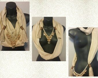 BROWN Scarf Wrap Necklace - Scarves - Wrap - Handmade - Fashion
