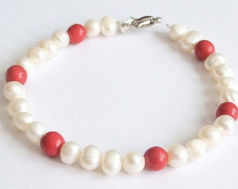 Bracelet beads natural white beads red coral howlite gem stones silver relaxing insomnia spiritual ambition patience power
