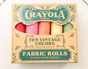 Crayola Vintage Fabric Rolls - Fat Quarter Bundle - Riley Blake