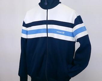 90s Vintage Track Jacket Blue White Trefoil