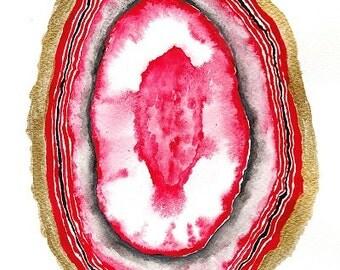 Agate Digital Print, Watercolour Original