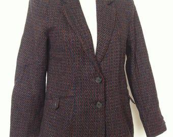 Vintage Womens Wool Blend Plaid Tartan Blazer Jacket / Size 10