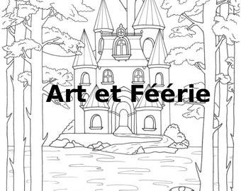 """Coloring page """"Romantic castle"""""""
