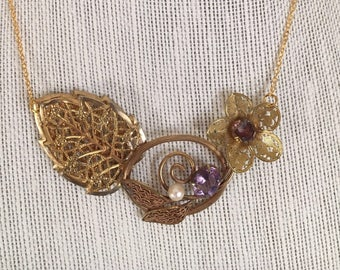Gold Vintage Statement Necklace, Repurposed Vintage Necklace, Vintage Assemblage Jewelry, Gift For Woman