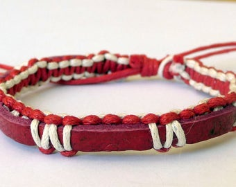 Bracelet adjustable unisex leather and cotton