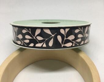Black and White Botanica Ribbon / Polyester Ribbon / Fabric Ribbon / Sewing Ribbon / Scrapbooking / Card Making