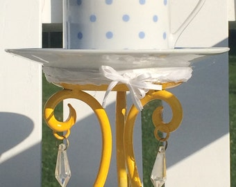 Blue and yellow candle teacup set