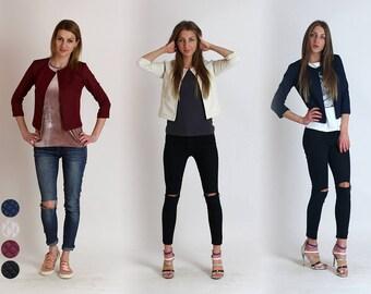 New!!Spring 2017 Short blazer with rombs/Casual blazer/Business Blazer/Chanel Style/Black blazer/Navy Blazer/White Blazer/Bordeaux Blazer