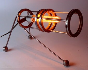 Industrial Handmade 'Dyno' Steampunk Table Lamp Modern Design Machine Cosplay Made in USA
