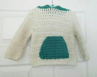Child's handmade hoodie size 6 months Children's clothing, child sweater crochet jumper.