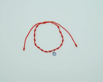 925 sterling silver red mexican string bracelet with evil eye for protection and good luck