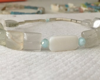 Pearl White and Baby Blue Accent Bracelet