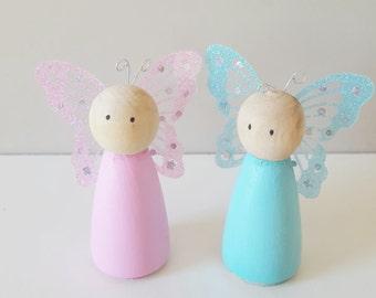 Wooden peg doll fairies - set of 2 - children's decor - display shelf peg dolls - fairy decor