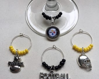 Steelers Black and Yellow Wine Charms