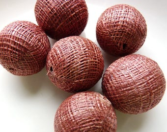 6 Round Jute/Canvas Covered Beads - Large - Hollow