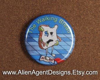 The Walking Bread - Pinback Button Badge - A Slice of Zombie Bread in Search of Grains!