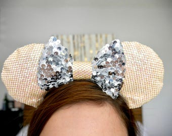 """Light Pink and Silver """"Pixie Dust"""" Minnie Ears   Mickey Ears"""