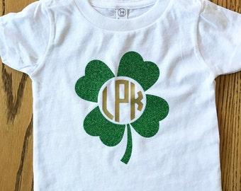 Girls Monogrammed St Patrick's Day Shirt