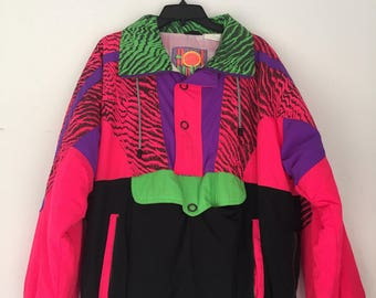 Vintage Neon Windbreaker Ski Jacket