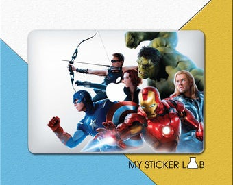 The Avengers MacBook Decal Avengers MacBook Skin Avengers MacBook Sticker Marvel Avengers Decal Iron Man Thor Captain America Hawkeye bn026