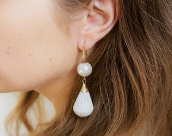 SALE 25% OFF Golden silver pearl drop earrings