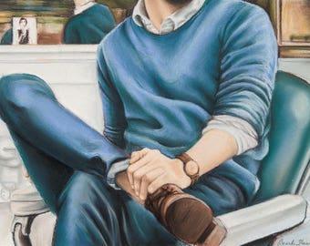Barbershop, Print of original artwork by Amanda Steines, man in barbershop chair, menswear, blue sweater, leather boots, pastel on paper