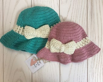 Crochet Floppy Sunhat with Bow, Baby/child/kids/adults