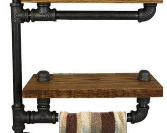 2 Tier industrial style towel rack with shelves