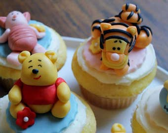 Winnie the Pooh cupcake and cake toppers- 12 toppers