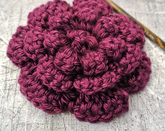 Large Crochet Flower Plum 4 inches