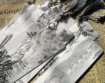 Chinese Art Calligraphy Ink Painting Bookmark 10pcs/set with different design as gift