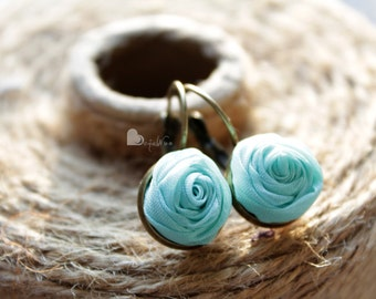 Fabric earrings Rose earrings Little aerrings Turquoise textile earrings Fabric Flower earrings Floral jewelry Gift for her Small earrings