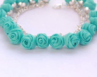 Fabric bracelet Rose bracelet Mint fabric jewelry Flower bracelet Floral jewelry Clusters bracelet Friendship bracelet Textile bracelet