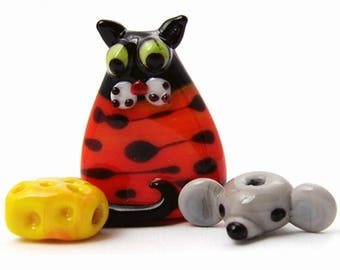 3 lampwork glass beads cat and mouse with cheese