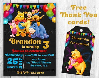 Winnie the Pooh invitation Pooh birthday invitation + Thank you card  Favor tags Pooh party invites Printable party supplies Birthday outfit