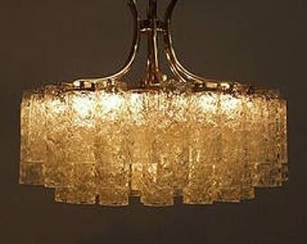 DORIA Chandelier Mid-century modern blown Murano Venini ice crystal tubes 60s 70s