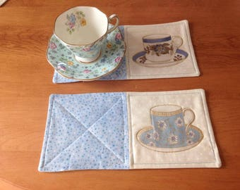 Blue Teacup Mug Rugs