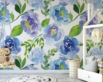 Peel and stick wallpaper floral etsy Floral peel and stick wallpaper