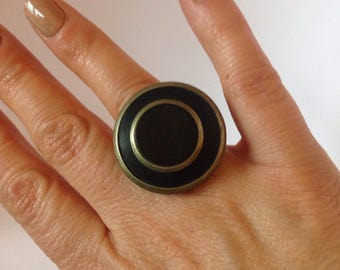 Wood and metal ring UK and AU size M or US and Can size 6
