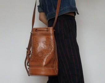 Embossed Leather Bucket Bag / Handbag / Shoulder Bag / Handstitched