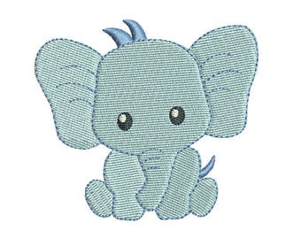 Mini Elephant Machine Embroidery Design, Baby Boy Elephant Fill Stitch Machine Embroidery, 3 Mini Sizes, Instant Download, No: FA560-1