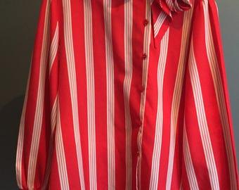 Vintage, 1960, Secretary Bow Blouse, L, Red/White Stripe