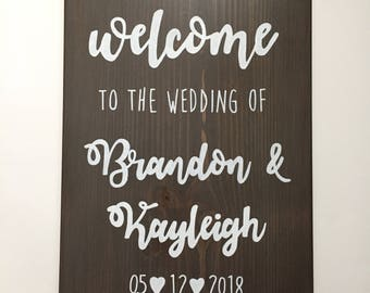 Wedding Sign, Custom Painted Wedding Sign, Rustic Wedding Decor, Welcome to Our Wedding, Welcome Wedding Sign, Hand Painted Wood Sign,