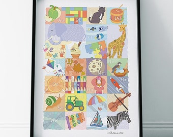 Animal ABC Nursery Print